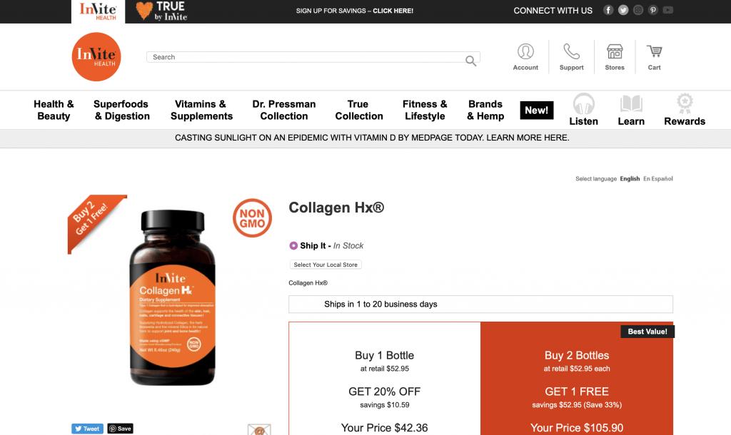 Invite Health Collagen Hx Website