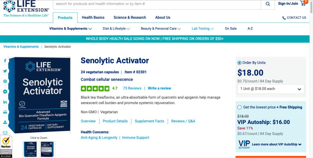 Life Extension Senolytic Activator Website