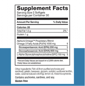 Omax Cognitive Boost Supplement Facts