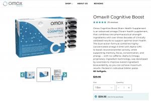 Omax Cognitive Boost Website