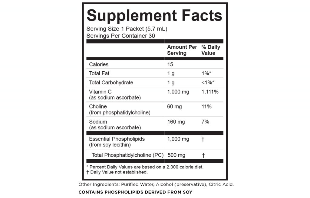 Lypo-Spheric Vitamin C Supplement Facts