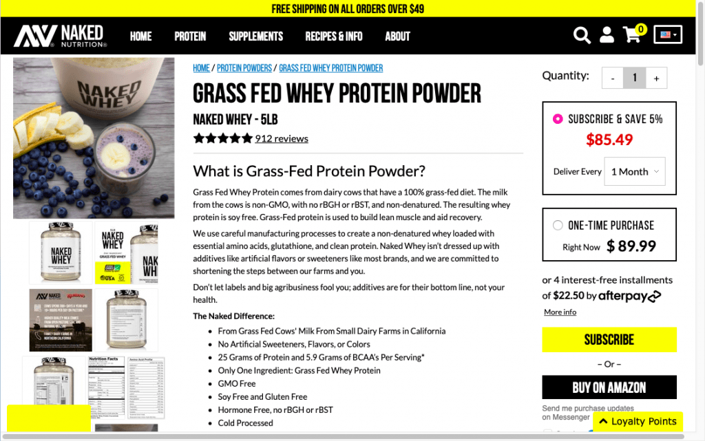 Naked Whey Nutrition Website