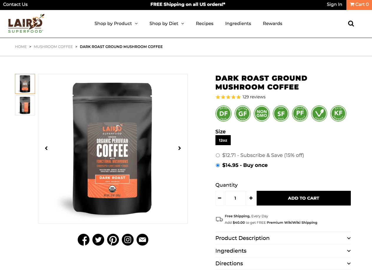 Laird Superfood Mushroom Coffee Website