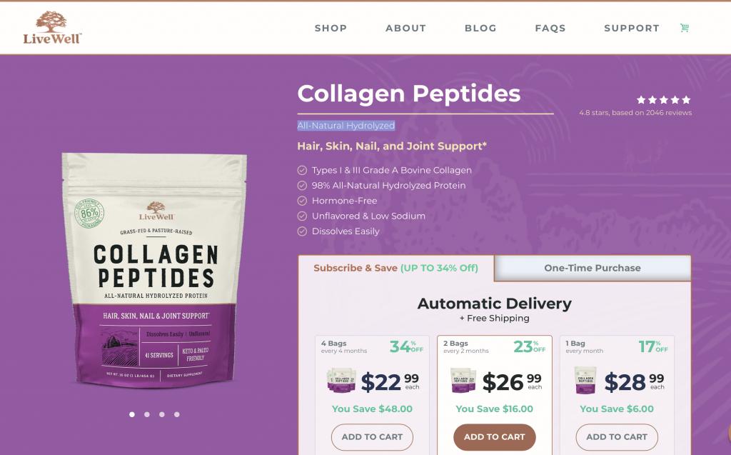 LiveWell Collagen Website