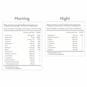 Lumity Morning and Night Male Supplements Ingredients