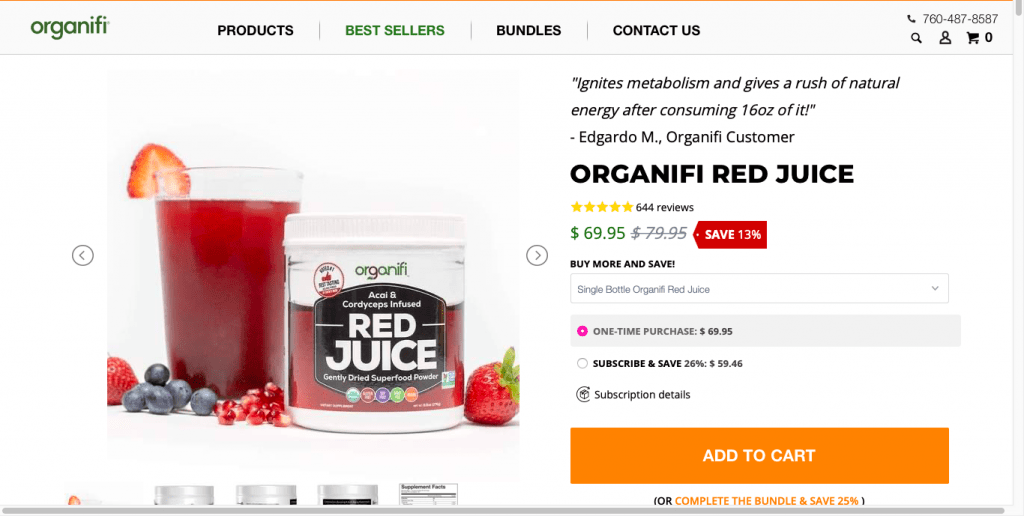 Organifi Red Juice Website
