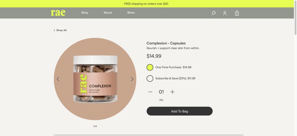 Rae Wellness Complexion Website