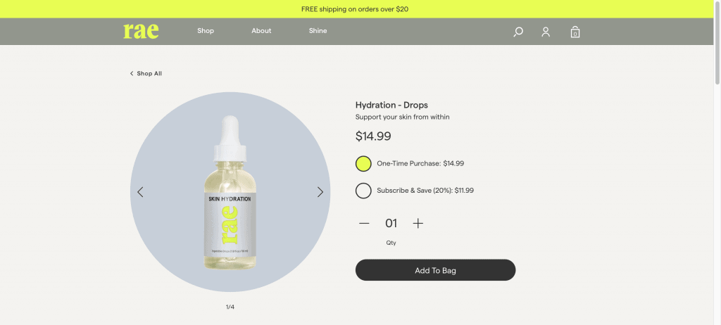 Rae Hydration Drops Website