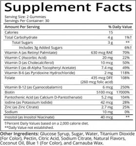 Sugar Bear Hair Vitamins Supplement Facts