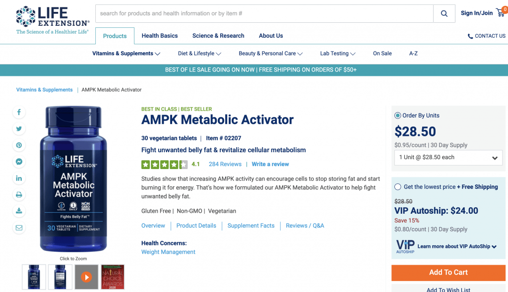 Life Extension AMPK Metabolic Activator Website