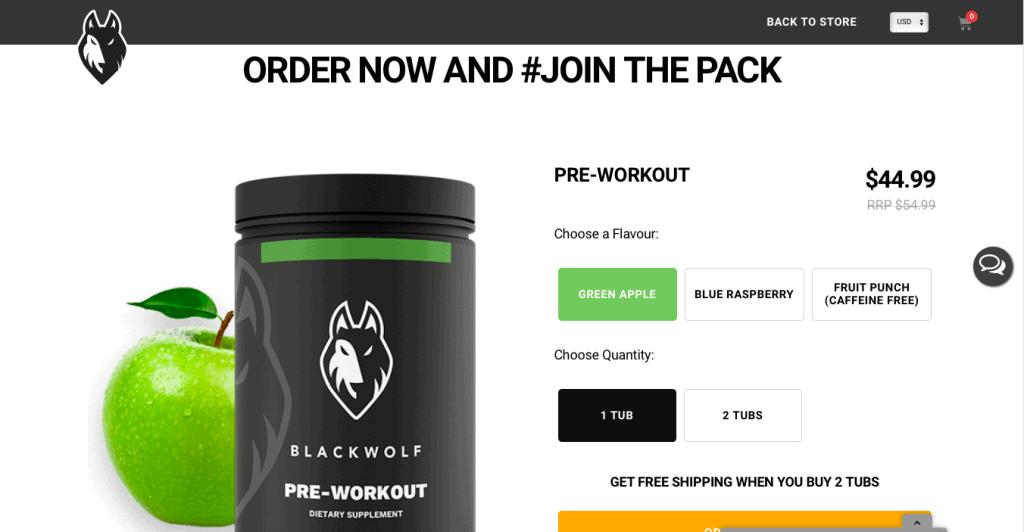 BlackWolf Pre-Workout Website