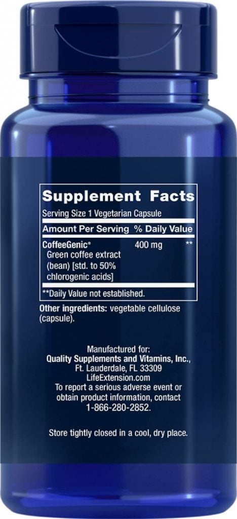 CoffeeGenic Green Coffee Extract Supplement Facts