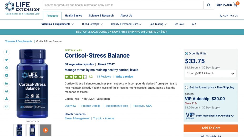 Life Extension Cortisol-Stress Balance Website