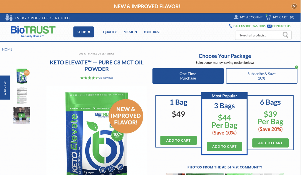 Keto Elevate C8 MCT Oil Powder Website