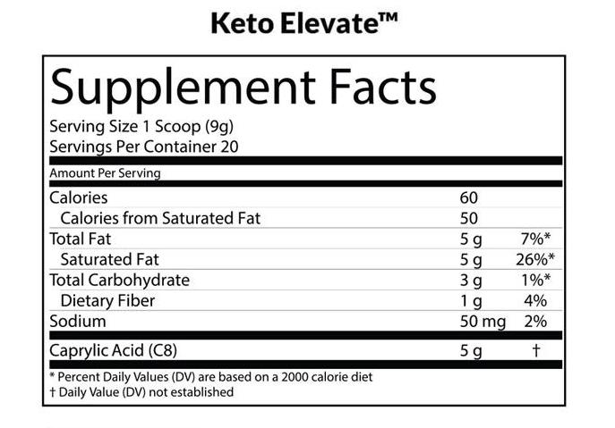 Keto Elevate C8 MCT Oil Powder Supplements Facts