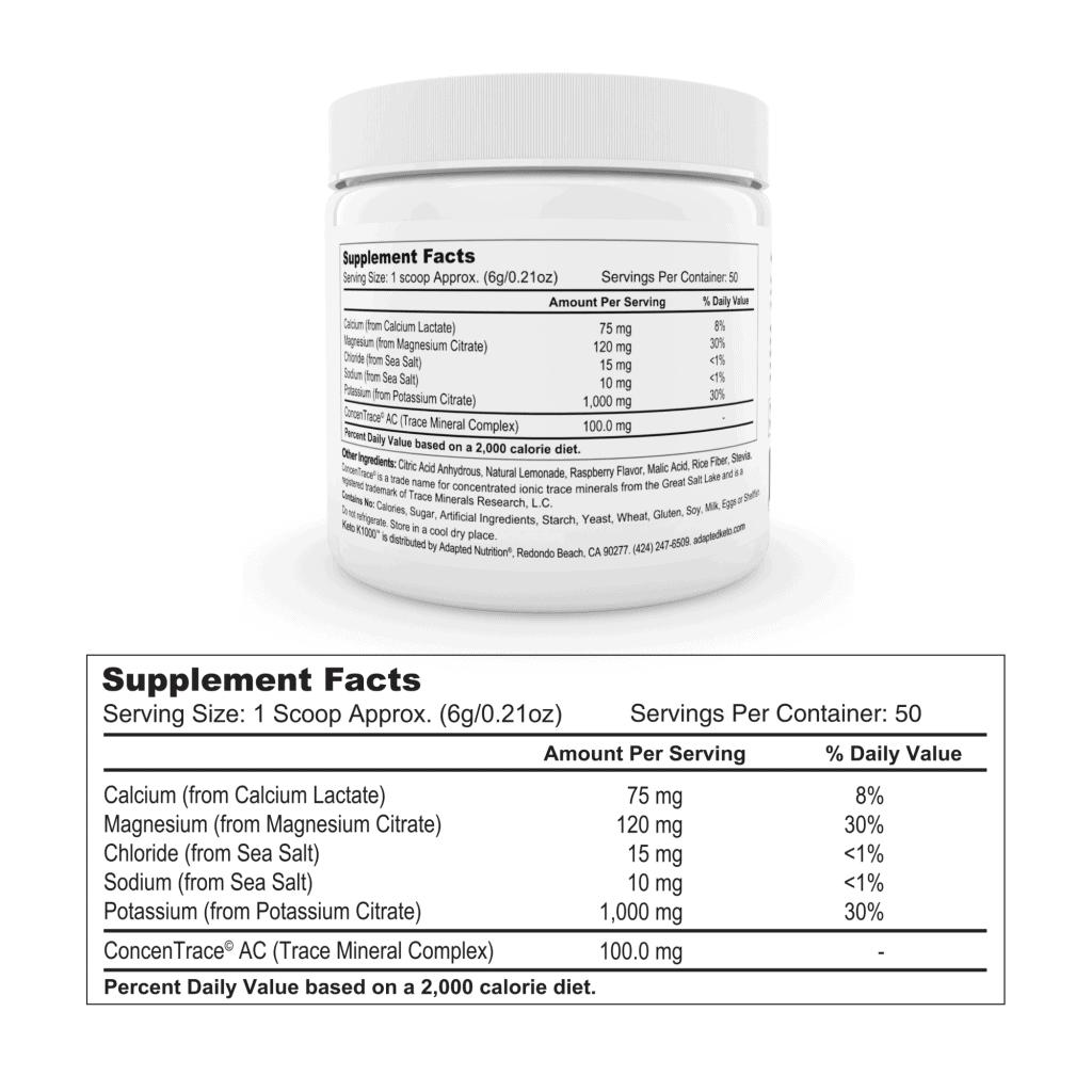 Keto K1000 Ingredients