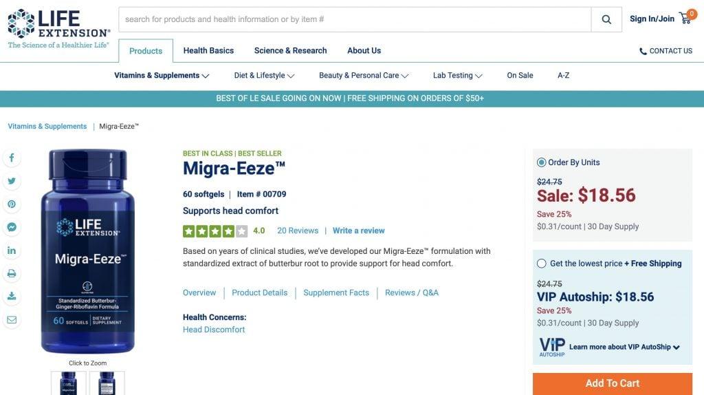Life Extension Migra Eeze Website