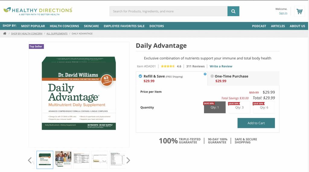 Dr. David Williams Daily Advantage Website