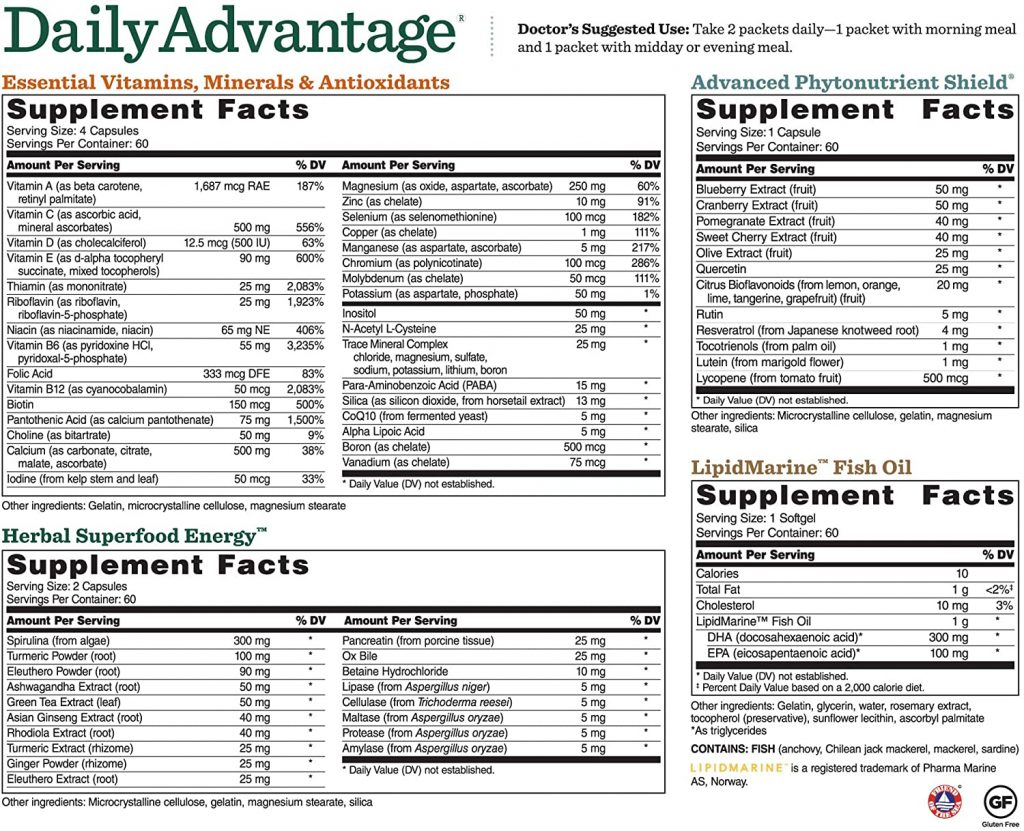 Daily Advantage Supplement Facts