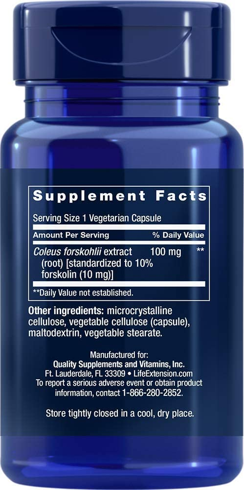 Life Extension Forskilin Supplement Facts