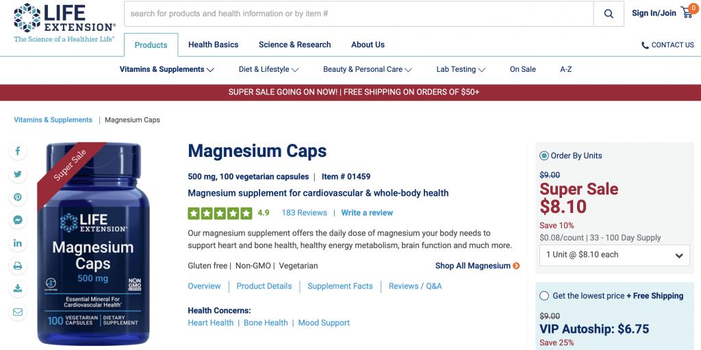 Life Extension Magnesium Caps Website