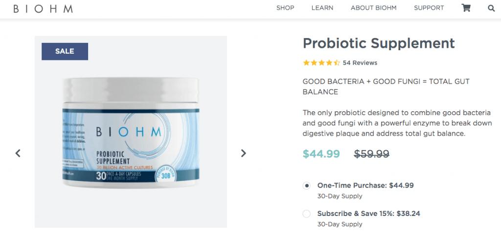 Biohm Probiotic Website