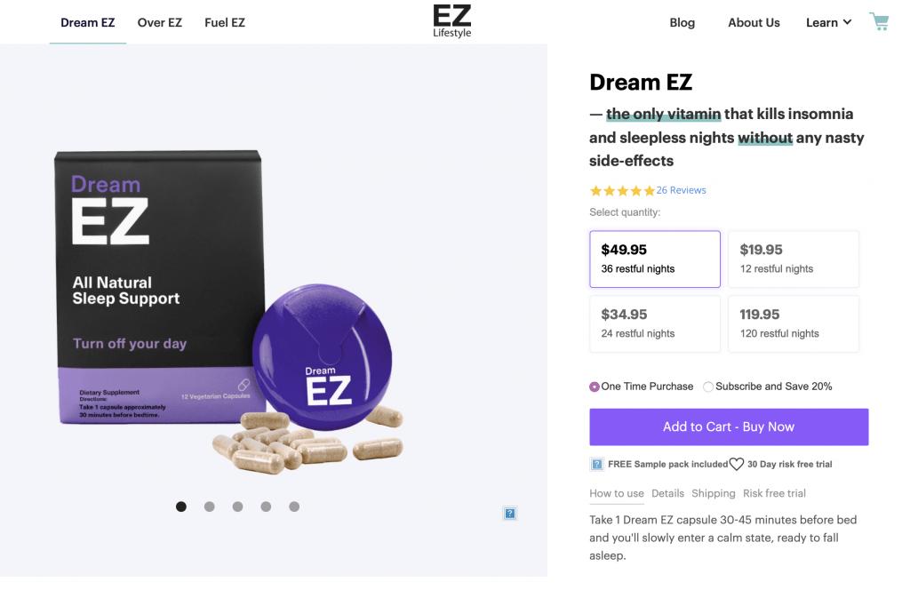 Dream EZ EZ Lifestyle Website