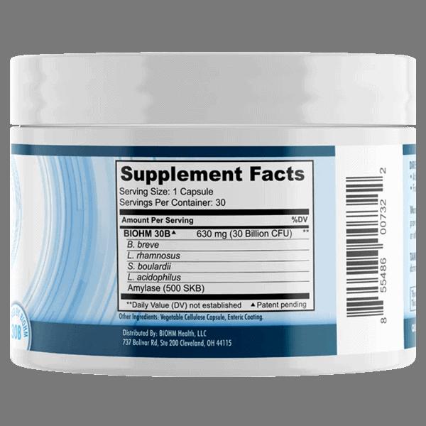 Biohm Probiotic Supplement Facts