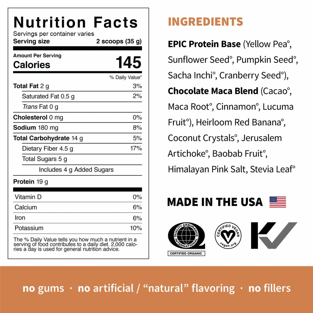 Epic Protein Chocolate Maca Supplement Facts