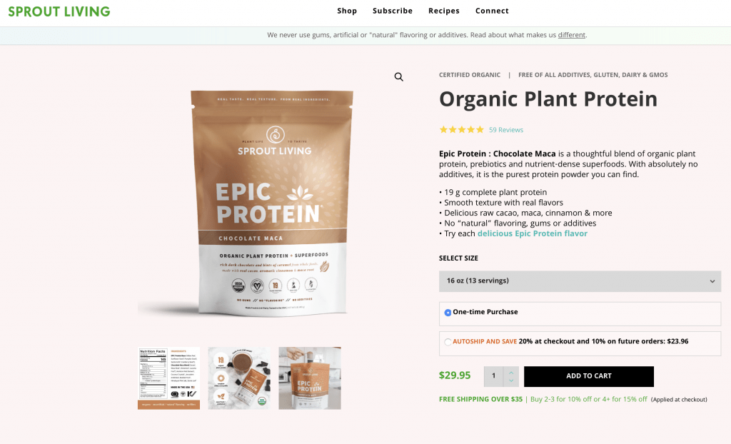 Sprout Living Epic Protein Chocolate Maca Website