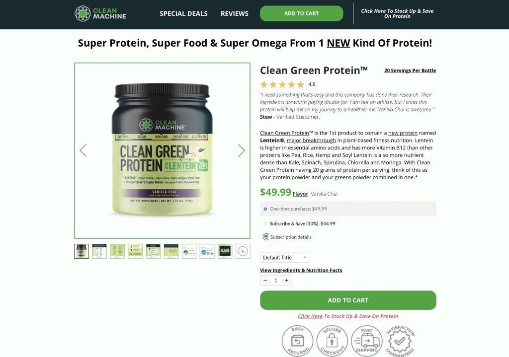 Clean Green Protein With Lentein website