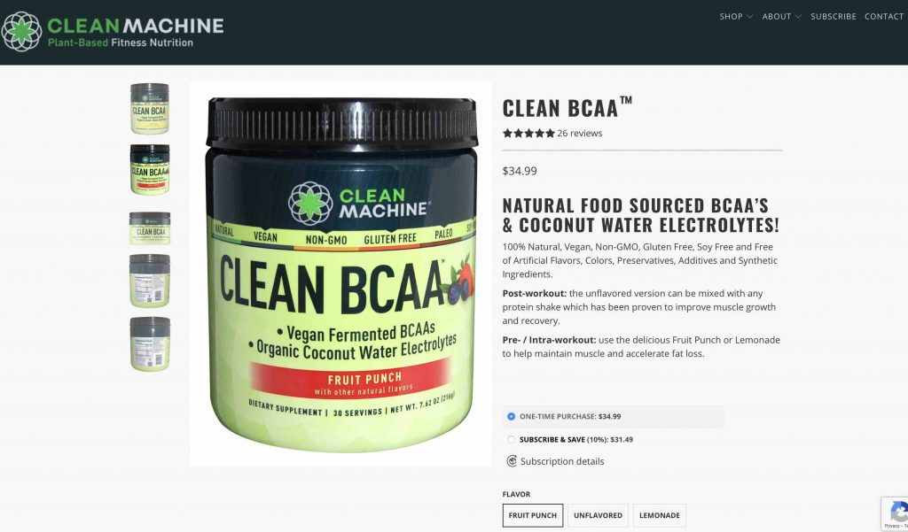Clean Machine Clean BCAA Website
