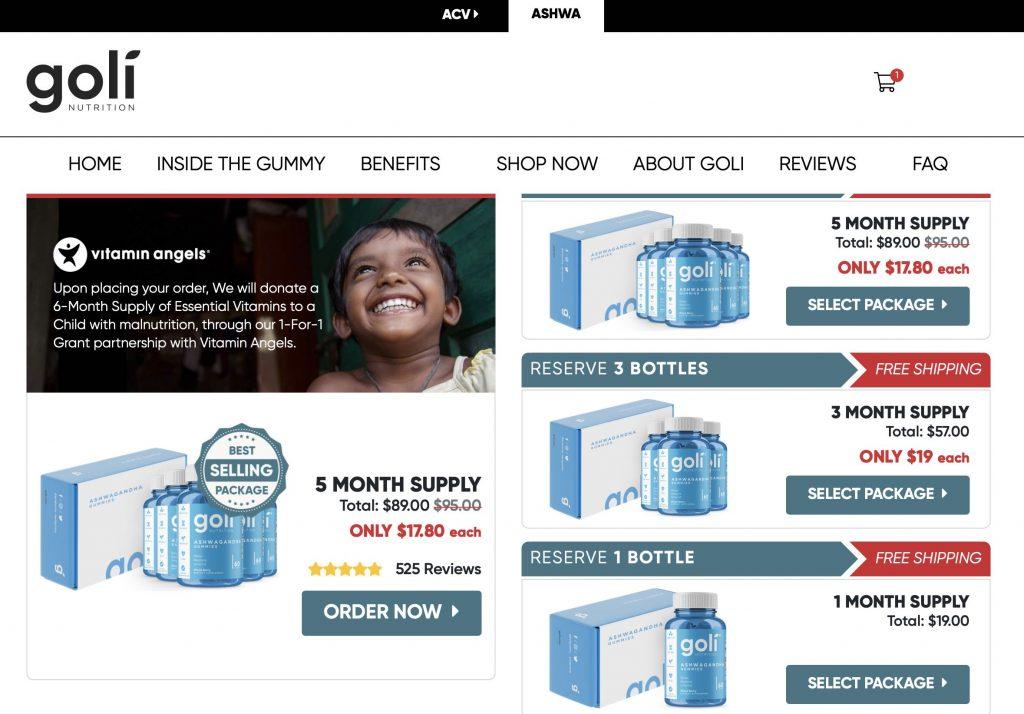 Goli Nutrition Website