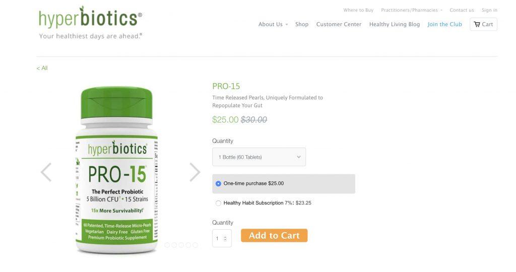 Hyperbiotics Pro-15 Website