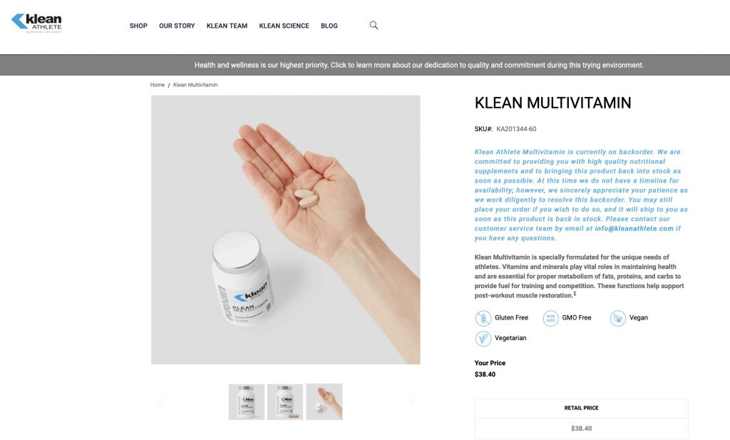 Klean Multivitamins Website