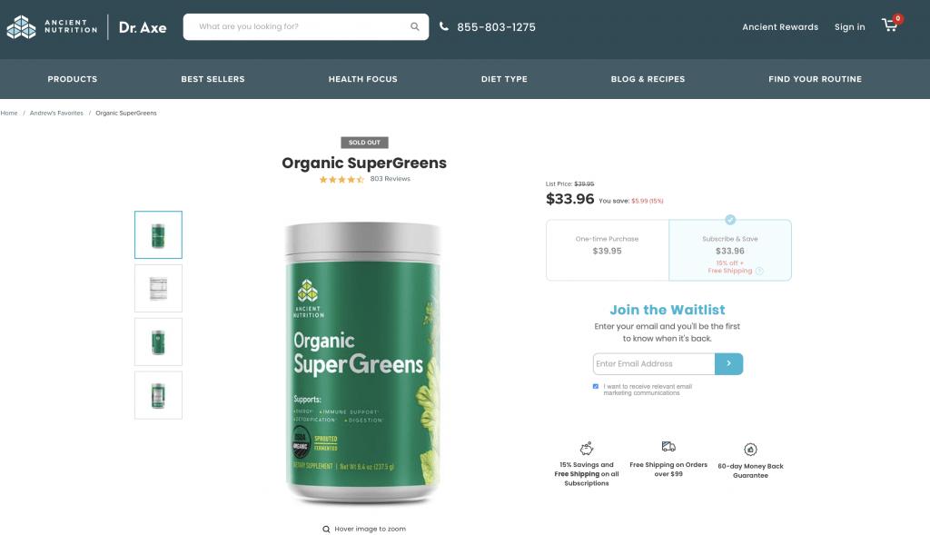 Ancient Nutrition Organic SuperGreens Website