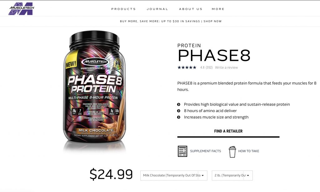 Phase 8 Protein By MuscleTech Website