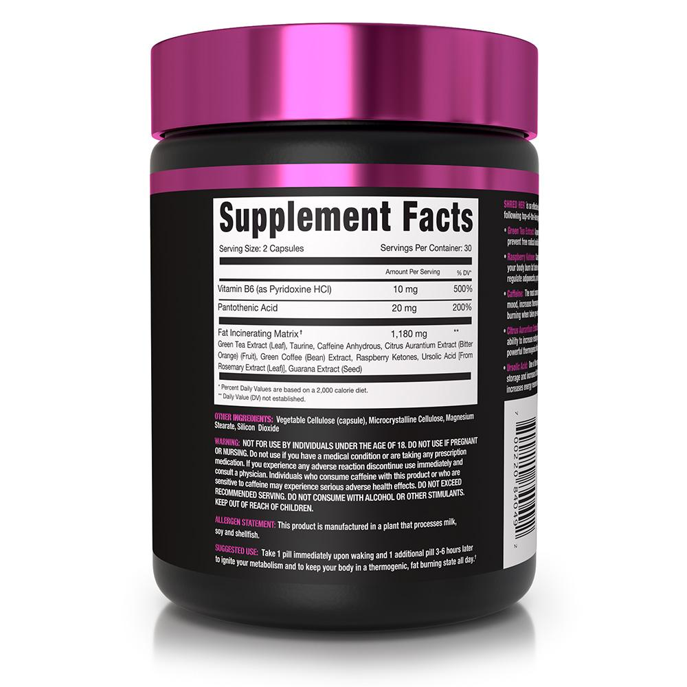 Shred Her Supplement Facts