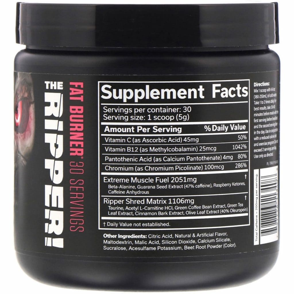 JNX Sports The Ripper Supplement Facts