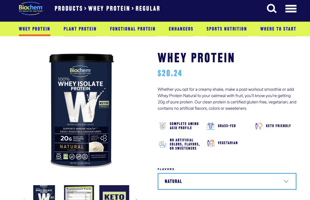 Biochem Whey Protein Website
