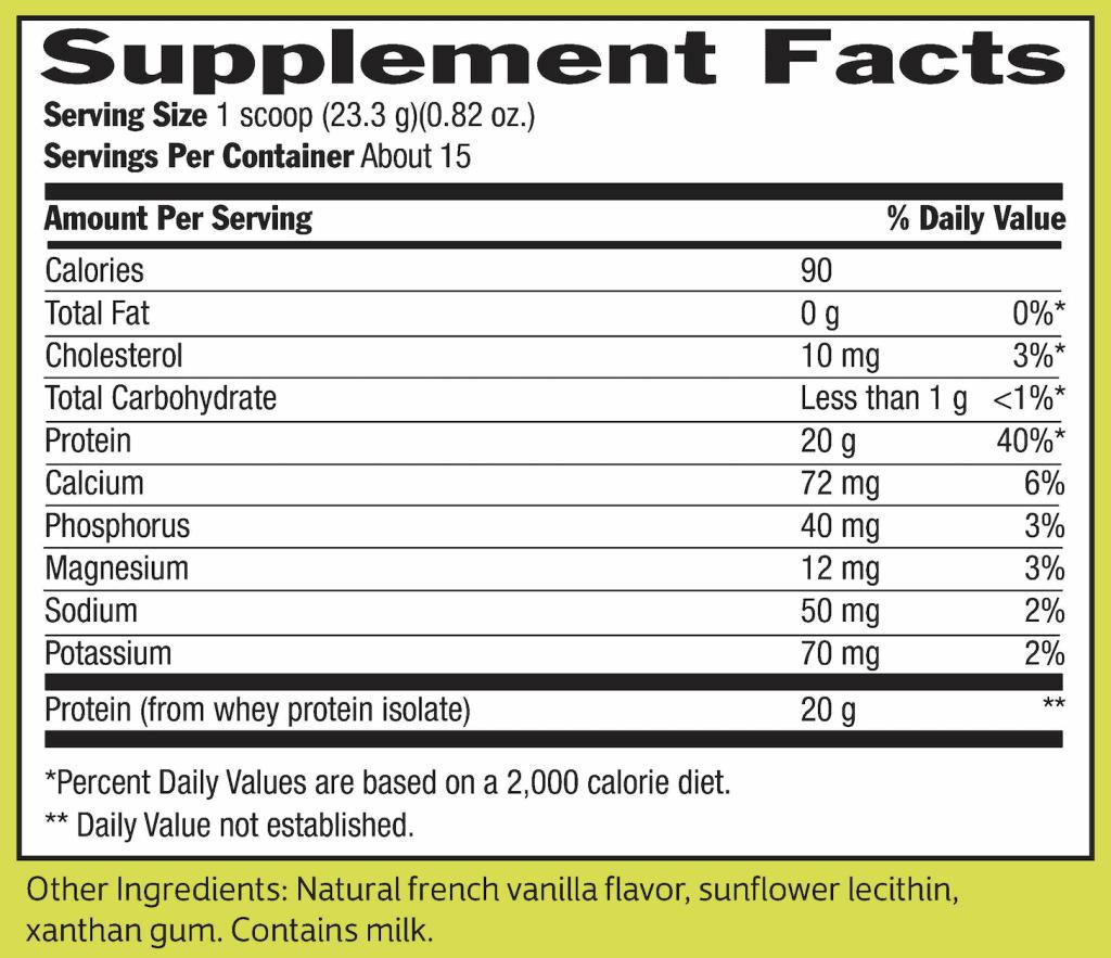 Biochem Whey Protein Supplement Facts