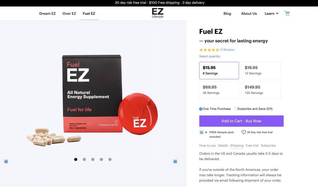 EZ Lifestyle Fuel EZ Website