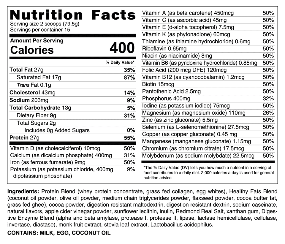 HLTH Code Complete Meal Supplement Facts