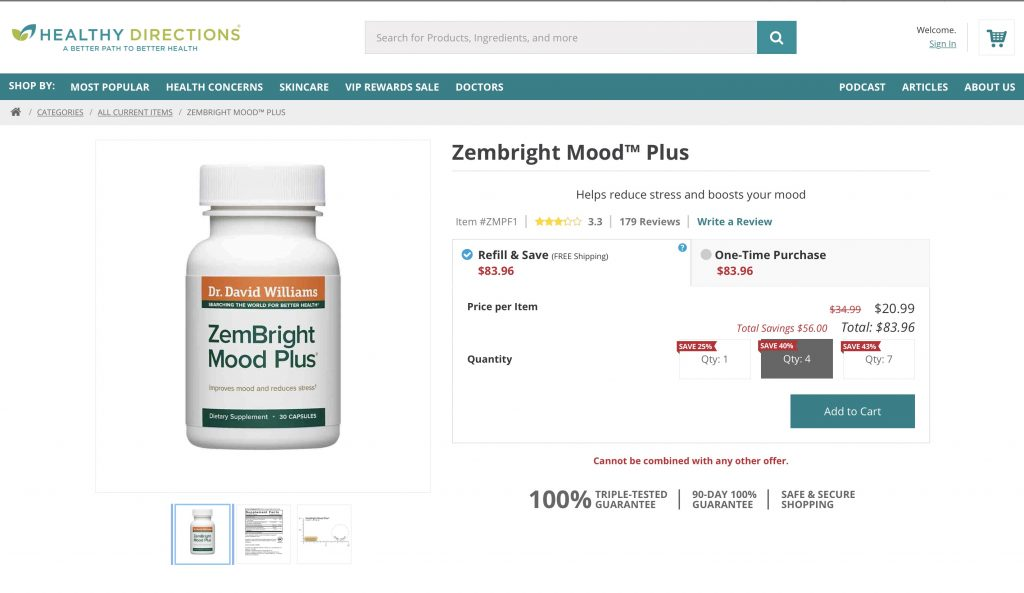Healthy Directions Zembright Mood Plus Website