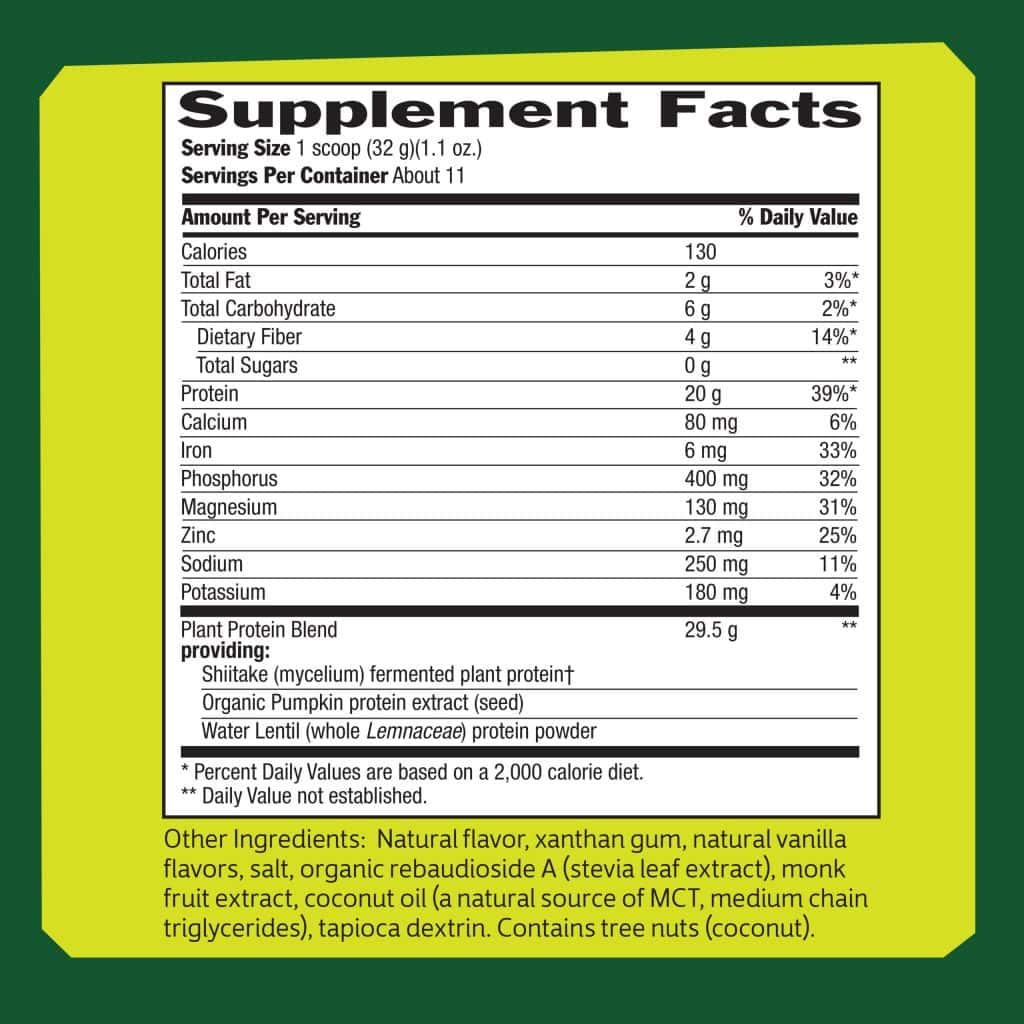 Biochem Plant Protein Supplement Facts