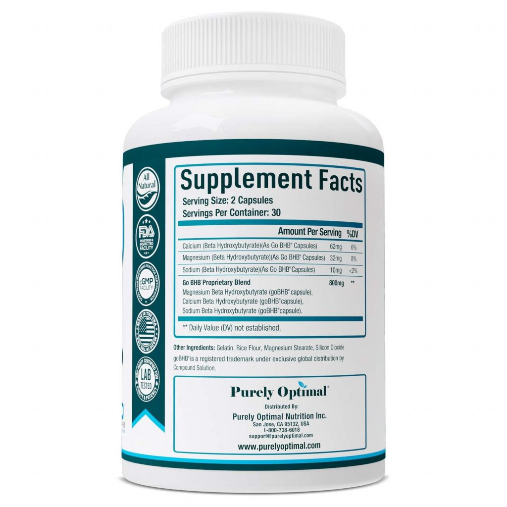 Purely Optimal Keto BHB Supplement Facts
