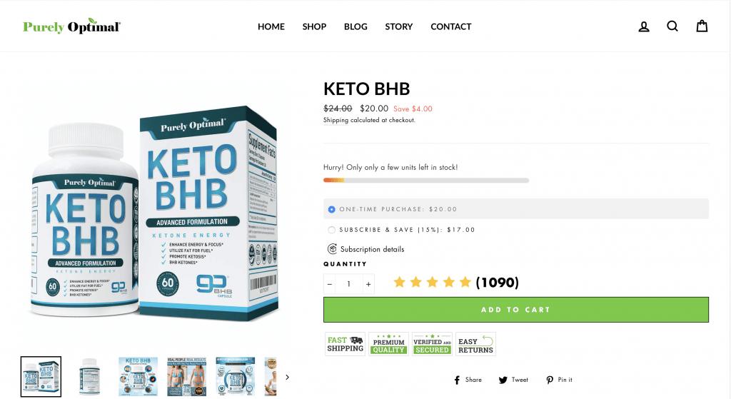 Purely Optimal Keto BHB Website