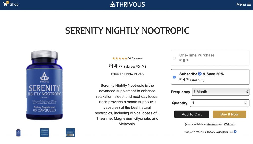 Thrivous Serenity Website