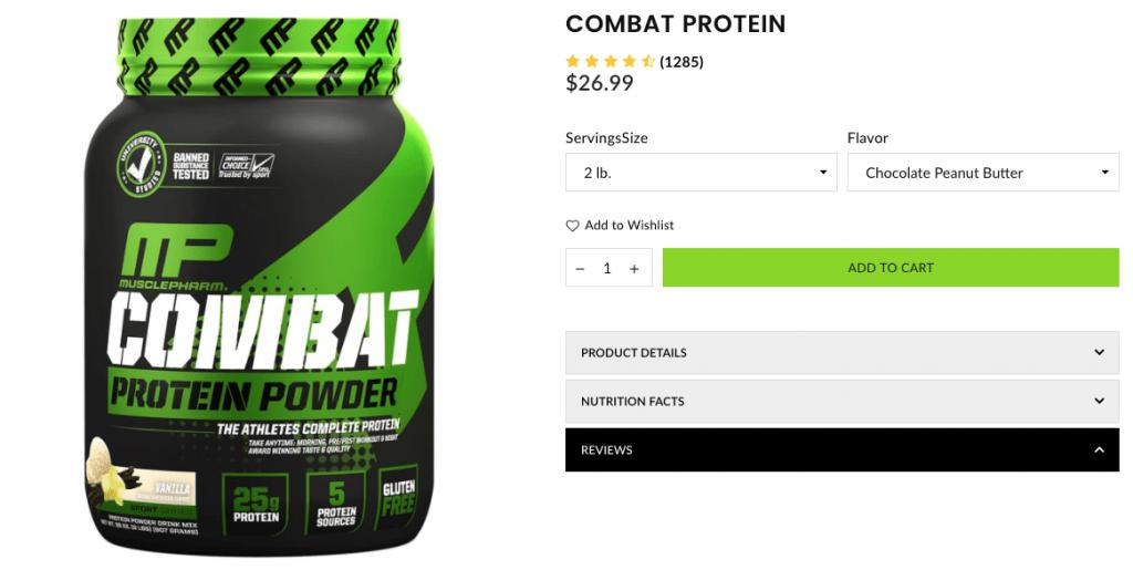 Combat Protein Powder Website