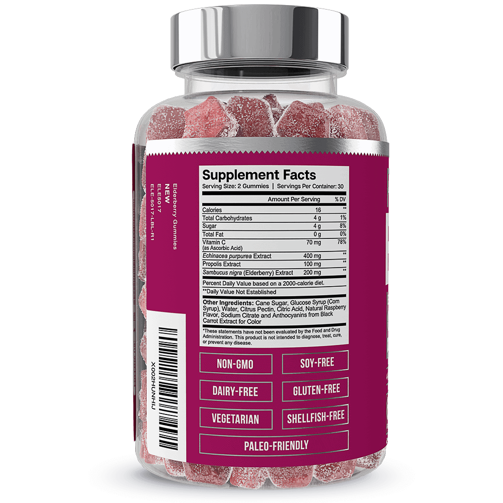 Essential Elements Elderberry Gummies Supplement Facts